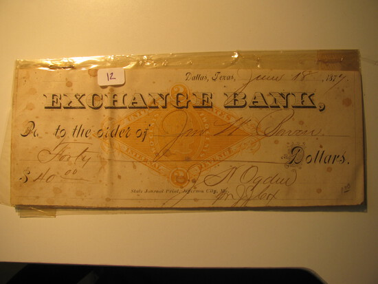Vintage Check: 1877 Exchange Bank