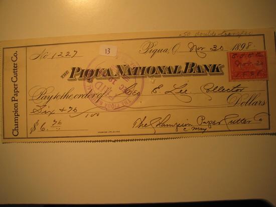 Vintage Check: 1898 Piqua National Bank