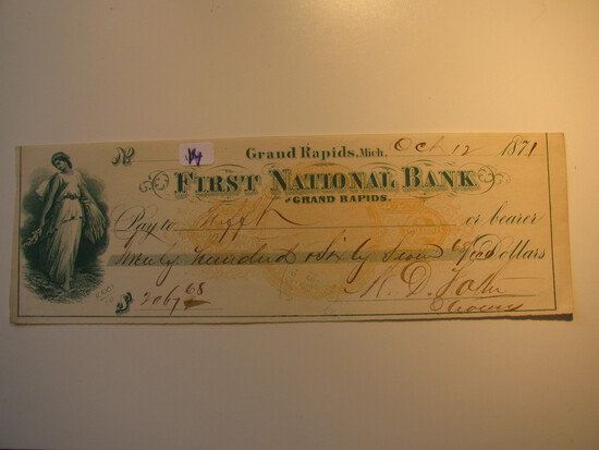 Vintage Check: 1871 First National Bank