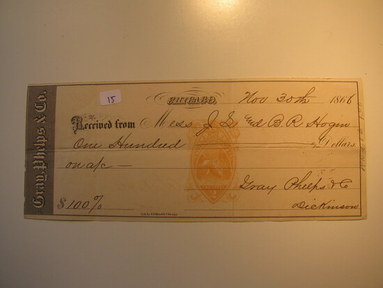 Payment Receipt: 1866 Grey Phelps & Co. Chicago