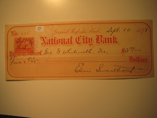 Vintage Check: 1898 National City Bank