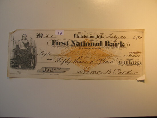 Vintage Check: 1880 First National bank Wellsborough, PA