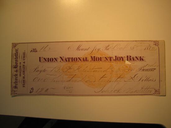 Vintage Check: 1872 National Mount Joy Bank
