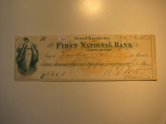 Vintage Check: 1871 First National Bank, Garnd Rapids Mich.