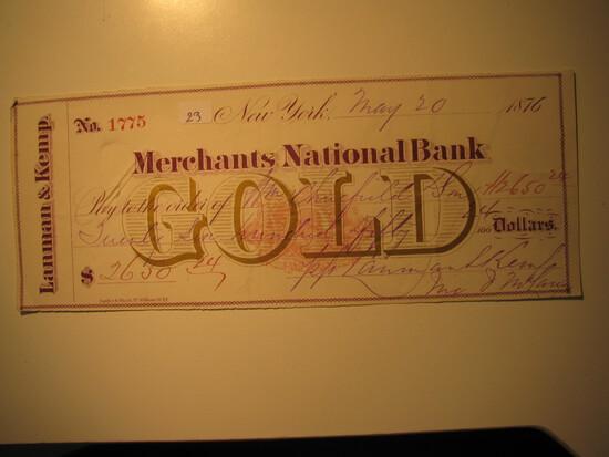 Vintage Check: 1876 Mechants National Bank