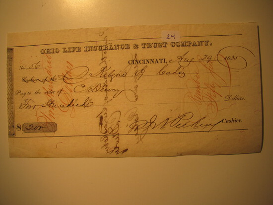 Vintage Check: 1835 Ohio Life Insurance & Trust Company