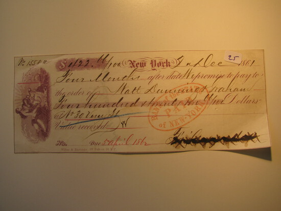 Payment Receipt: 1861 To Waly Dunning Graham