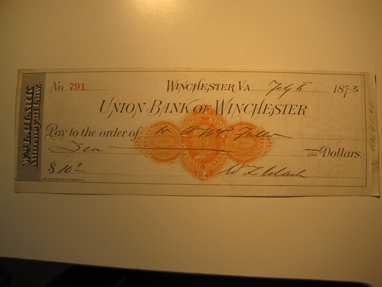 Vintage Check: 1873 Union Bank of Wichester
