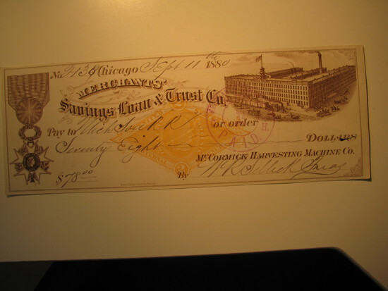 Vintage Check: 1880 Merchants' Savings Loan & Trust Co.