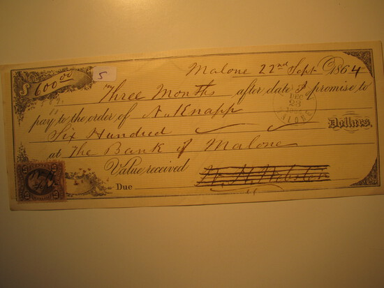 Promissory Note: 1864 The Bank of Malone