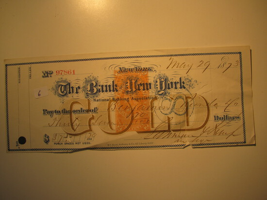 Vintage Check: 1873 The Bank of New York