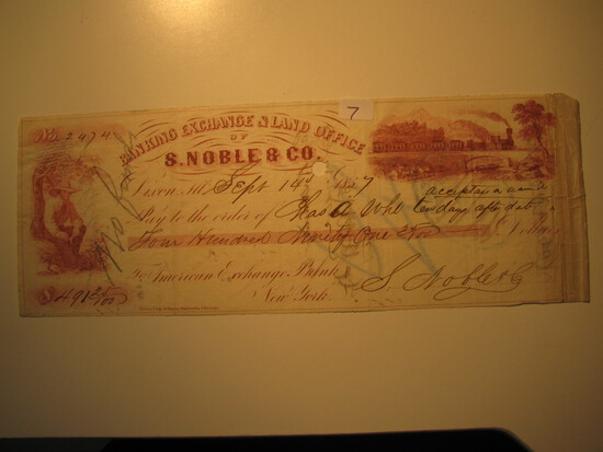 Vintage Check: 1857 Banking Exchange & Land Office S. Noble & Co.
