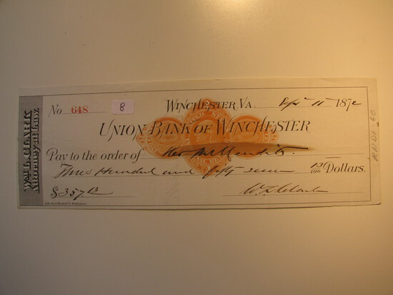 Vintage Check: 1872 Union Bank of Winchester
