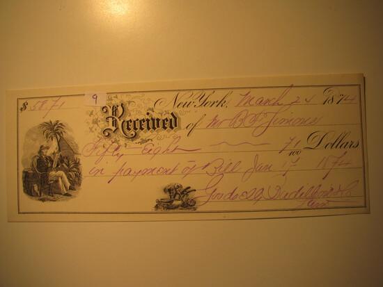 Payment Receipt: 1874 New York