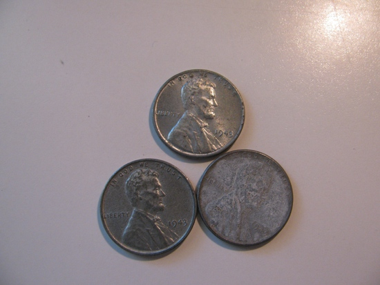 US Coins: 3x 1943 Steel pennies