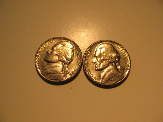US Coins: 2x1962-D UNC 5 Cents