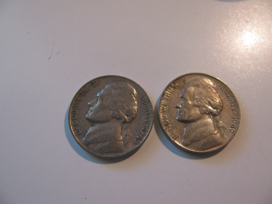 US Coins:2x1949-S 5 Cents