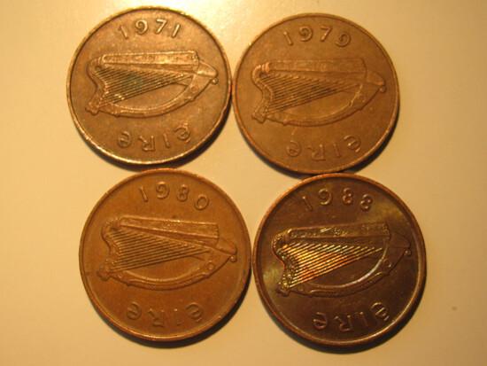 Foreign Coins:  Ireland 1971, 1979, 1980 & 1988 2 Pences