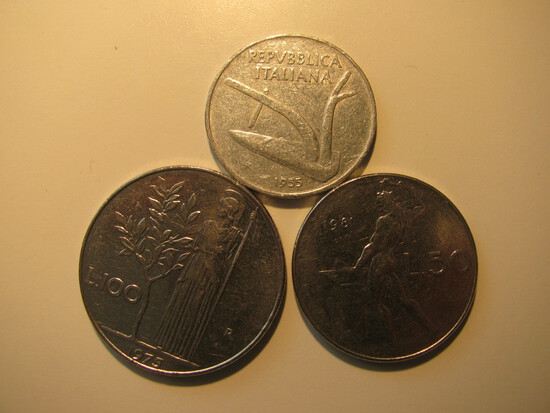 Foreign Coins:  Italy 1955 10, 1981 50 + 1975 100 Lires