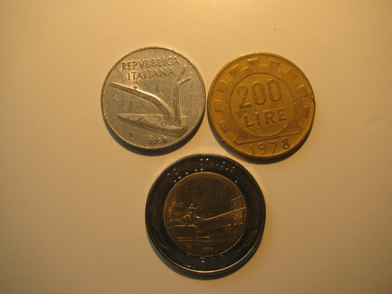 Foreign Coins:  Italy 1956 10, 1978 200 + 1986 500 Lires