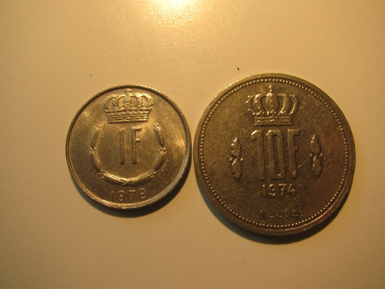 Foreign Coins:  Luxemburg 1974 10 & 1979 1 Francs