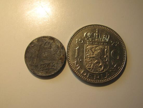 Foreign Coins: Netherlands WWII 1942 1 Cent & 1972 1 Gulden