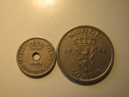 Foreign Coins: Norway 1924 10 & 1956 50 Ores