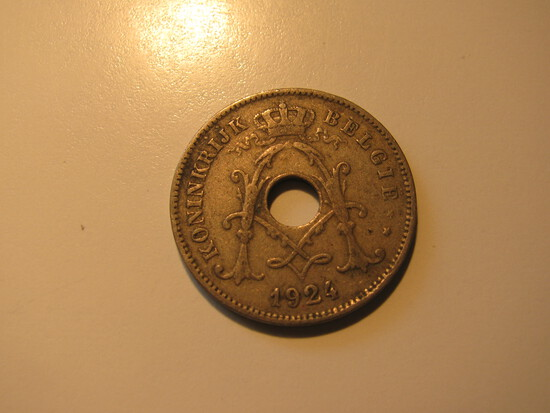 Foreign Coins: 1924 Belgium 10 Cents