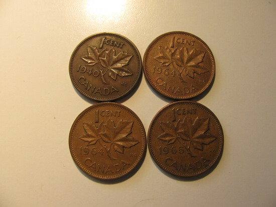 Foreign Coins: Canada WWII 1940, 2x1964 & 1965 Cents