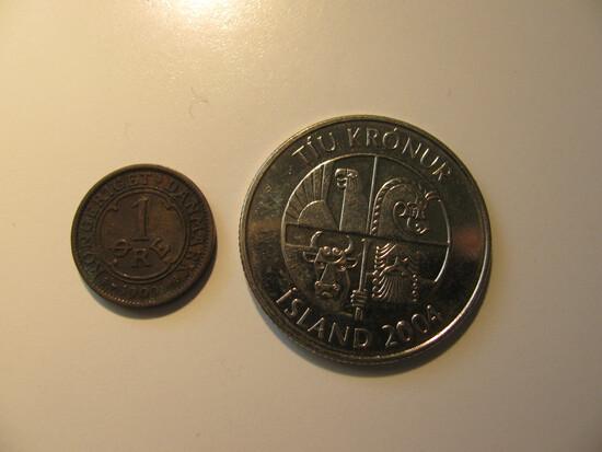 Foreign Coins:  1909 Denmark 1 Ore & 2004 Iceland 10 Krona