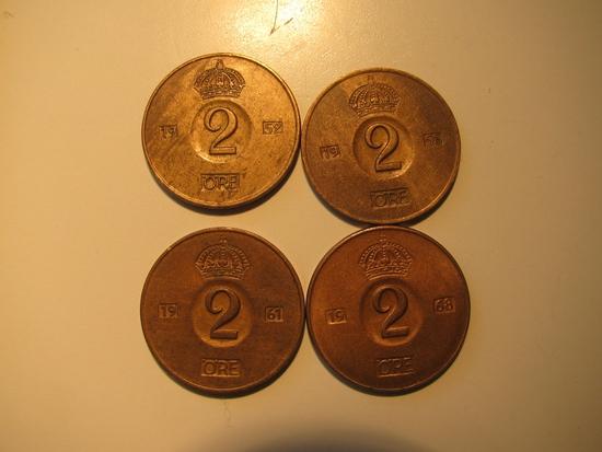 Foreign Coins:  Sweden 1952, 1958 1961 & 1968 2 Ores
