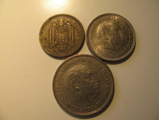 Foreign Coins:  Spain WWII 1944 1 Peseta, 1957 5 & 25 Ptas