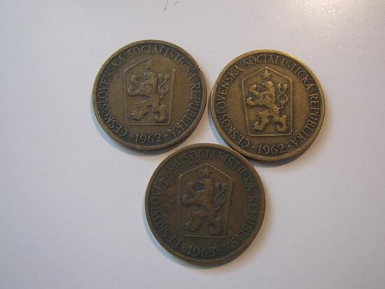 Foreign Coins:  2x1962 & 1x1963 Czechoslovakia 1 unit coins
