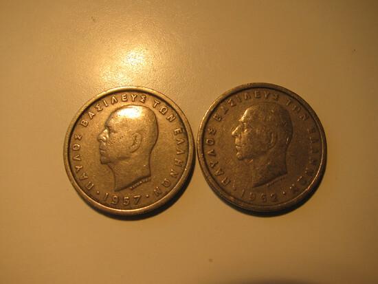 Foreign Coins:  Greece 1957 & 1962 2 Drachmas