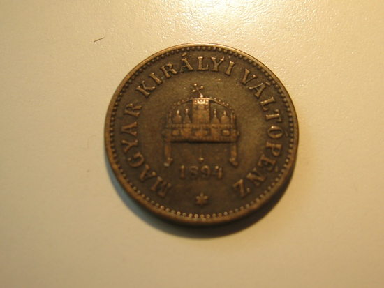 Foreign Coins: 1894 Hungary 2 Filler