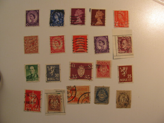 Vintage stamps set of: Norway & Great Britain