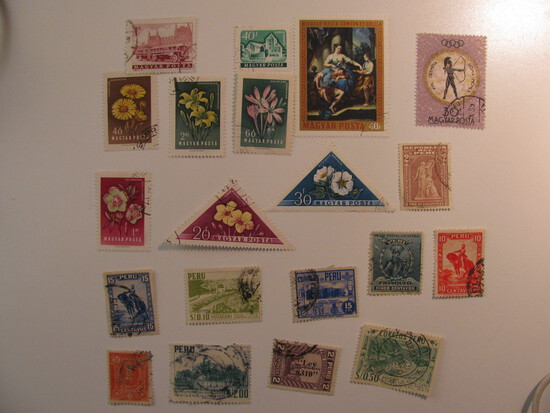 Vintage stamps set of: Peru & Hungary