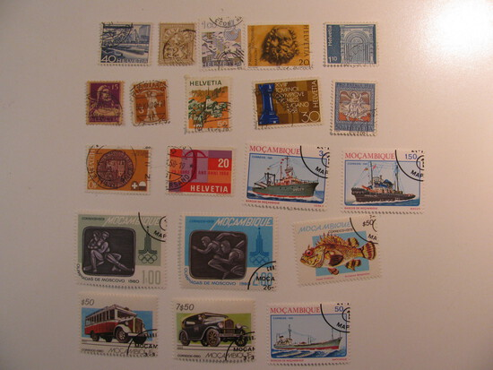 Vintage stamps set of: Switzerland & Mozambique