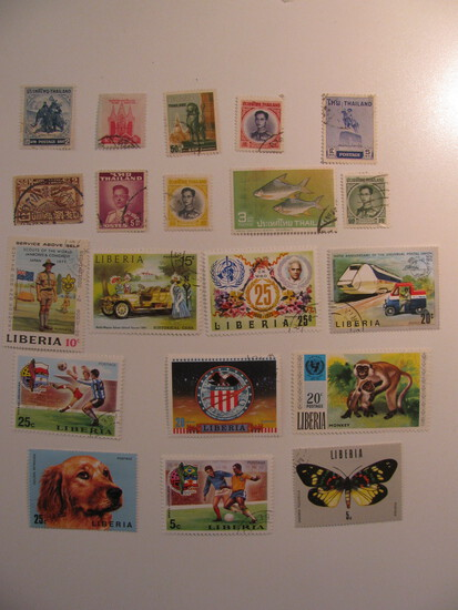Vintage stamps set of: Thailand & Liberia