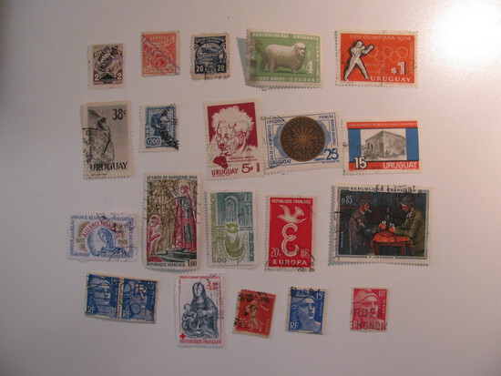 Vintage stamps set of: Uruguay & France