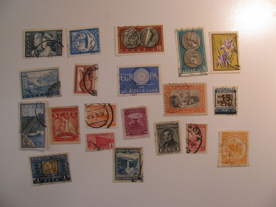 Vintage stamps set of: Greece & Colombia
