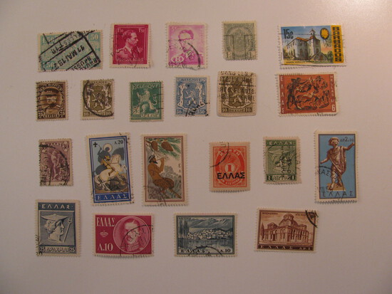 Vintage stamps set of: Belgium, Barbados & Greece