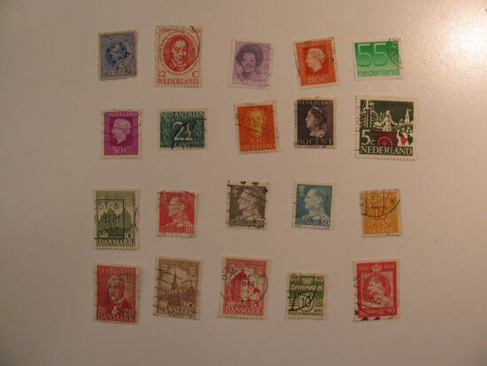 Vintage stamps set of: Netherlands & Denmark