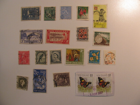 Vintage stamps set of: New Zealand & Finland