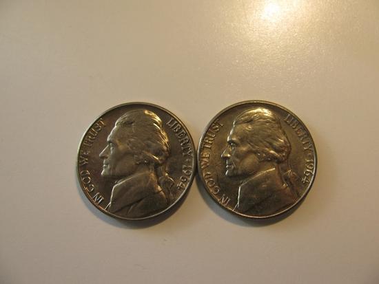 US Coins: 2x1964-D BU/Clean 5 Cents