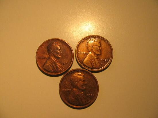 US Coins: 3x1923 Wheat Pennies