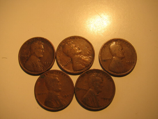 US Coins: 5x1927 Wheat Pennies
