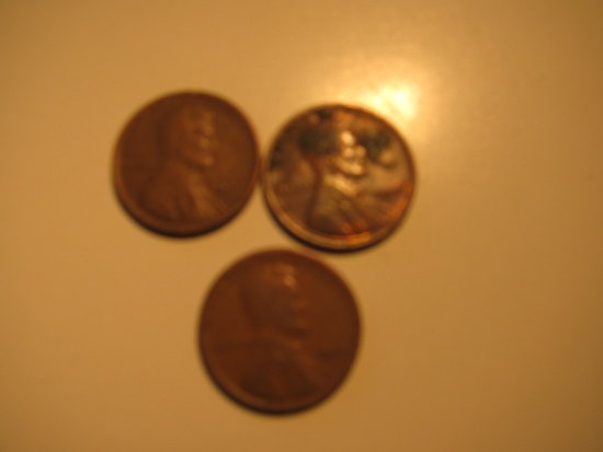 US Coins: 3x1923 Wheat Pennies