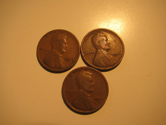 US Coins: 3x1924 Wheat Pennies