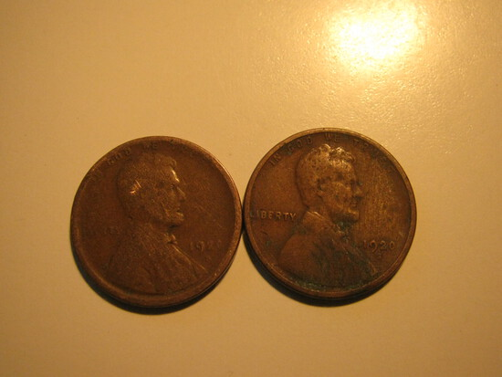 US Coins: 2x1920-S Wheat Penney